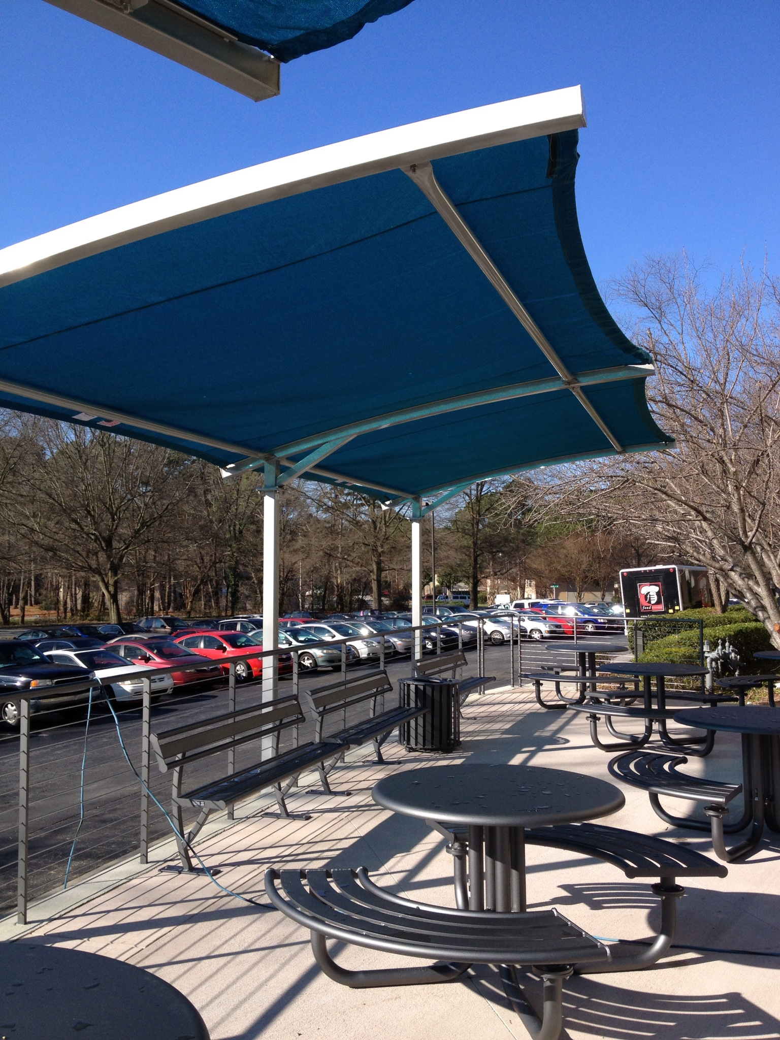 Office renovations expand to exterior shade structures for Sun shade structure