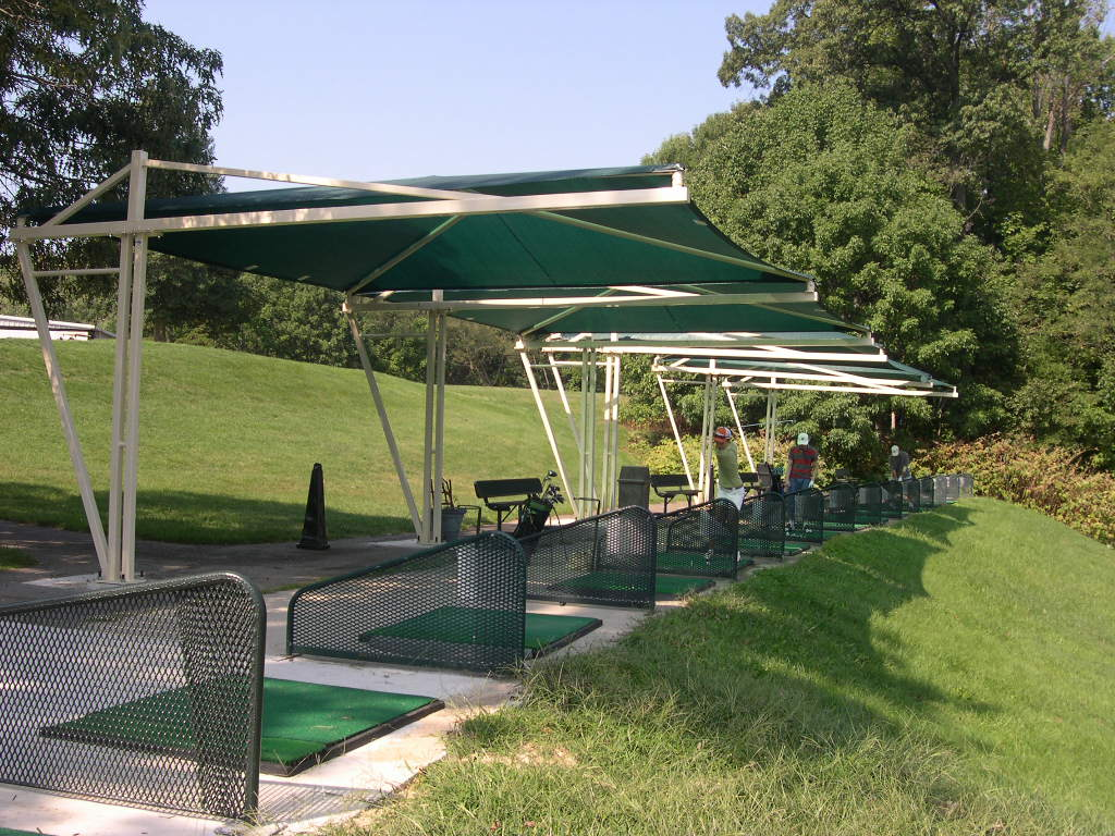 Golf course adds shade to tee boxes for Shade structures