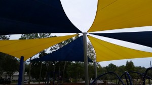 Glencliff Park Yellow and Navy Blue Sails Tampa Fl view from underneath