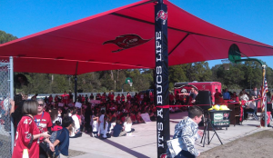 50' x 80' Basketball Court Shade Davis Elementary - Tampa, FL Tampa Bay Buccaneers donated $$$ to the school district to help provide outdoor shade!